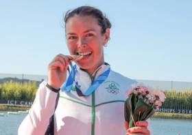 Jenny Egan with her bronze medal from the Canoe Sprint World Championships