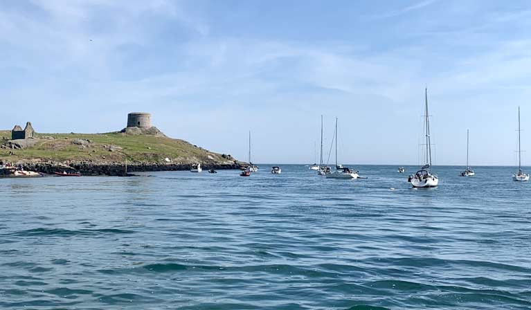 Dalkey Island in the south of Dublin Bay was a popular anchorage on the June Basnk Holiday weekend