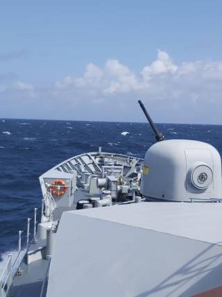 Large guns must be stripped down for maintenance every three months. Above AFLOAT adds is LÉ Samuel Beckett which as above last week carried out primary armament gunnery drills involving its bow-mounted Oto Melara 76mm gun.