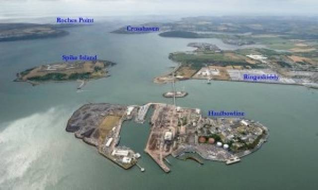 Cork Harbour Naval base showing single road bridge access to Ringaskiddy where Indaver wants to build an incinerator