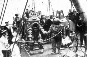 Preparing the Tritonia diving suit for descent to the Lusitania in 1935