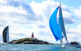 Yachts pass the Muglins Rock on Dublin Bay in a passage race on the East Coast of Ireland. Questions are being asked in a UK survey whether sailing needs to change its approach to attracting more people into the sport