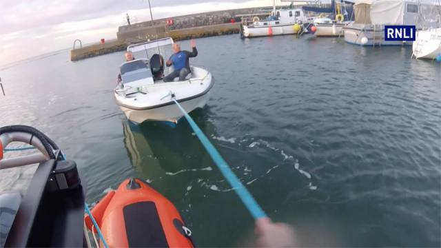Bangor RNLI tows the speedboat into harbour