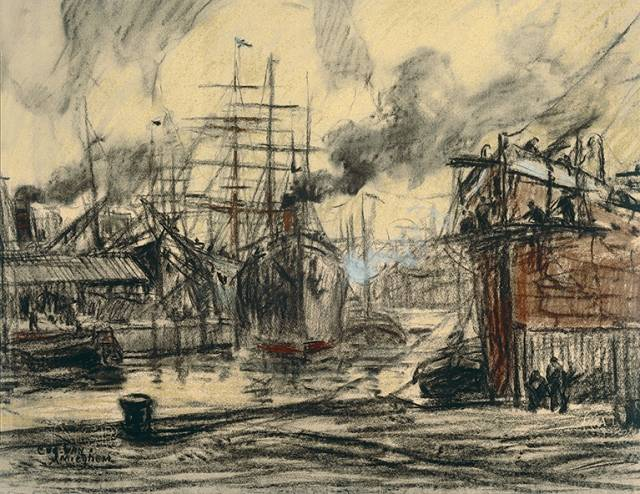 Eugeen Van Mieghem  Steamers and Three Masted-Ships in the Dock, c.1912 Charcoal and pastel