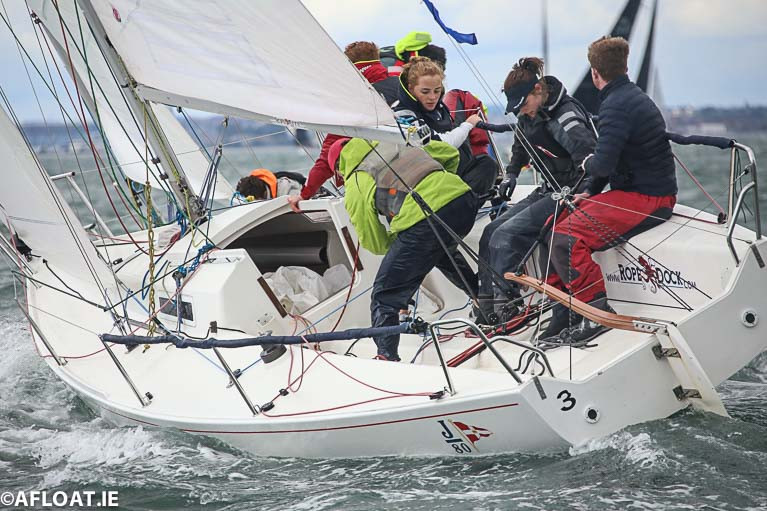 An under 25 team racing in a RStGYC J80 keelboat on Dublin Bay