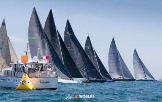 A class start at the 12 Metre World Championships held in Newport, Rhode Island