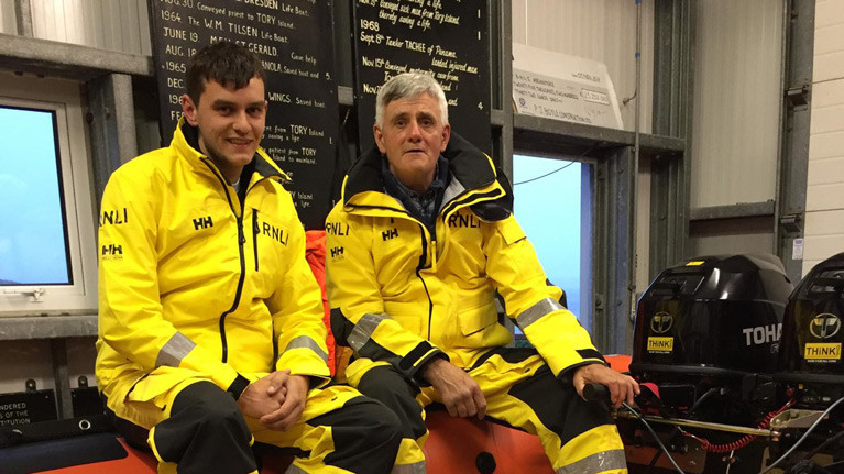 Arranmore RNLI Coxswain Jimmy Early with his son Lee