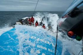 Ireland's Damian Foxall leads as the fleet runs into the Atlantic