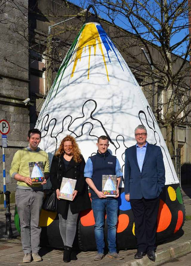Drogehda's maritime buoy - L to R   Austin Campbell, Resettlement Officer Drogheda Homeless Aid, Jene Hinds Kelly Artist, Paul Flanagan Murtaghs of Drogheda,  Paul Fleming CEO Drogheda Port Company.