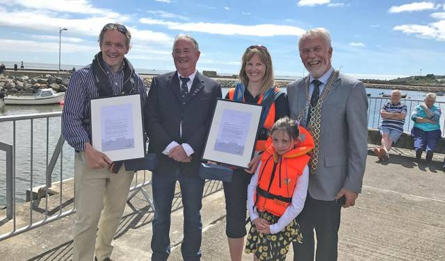 David Maguire, Nick Bowie, Lorraine Galvin, her daughter Lauren and Cllr Jim Moore Mayor at the Wexford Maritime Festival this past weekend