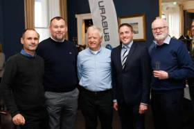 At the Flying Fifteen Worlds launch at the NYC were (from left) Tim Ryan of Dun Laoghaire Harbour, Barry Dempsey of Dun Laoghaire Rathdown County Council, the National Yacht Club's Ronan Beirne, Cllr Cormac Devlin and Dun Laoghaire Harbour Master Simon Coate