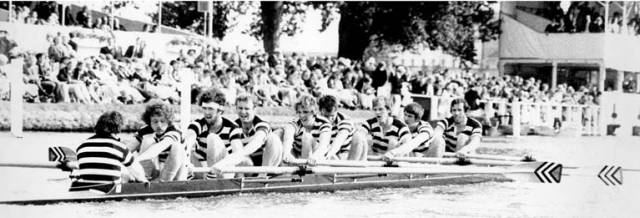 Dublin University Boat Club, the winners of the 1977 Ladies' Challenge Plate at Henley Royal Regatta. Pictured are KJ Mulcahy, EM O'Morchoe, DJ Sanfey, JPD Murnane, EDG Weale, DMJ Hickey, RI Reilly, JA Macken, JMP McGee, Coach: RWR Tamplin.