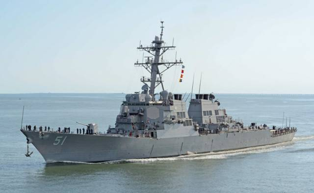The USS Gallagher, after Lance Corporal Patrick Gallagher, will be the same class as the guided-missile destroyer USS Arleigh Burke, pictured here in Chesapeake Bay