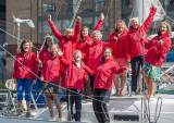 Yachtswoman Tracy Edwards reunites with the 'Maiden' crew to celebrate ahead of the 30th anniversary since they became the first all-female team to sail around the world. Dun Laoghaire sailor Angela Heath is pictured right in front row