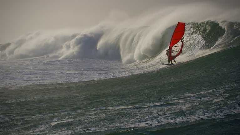 Sligo-based Galway-born GP Katie McAnena, a five-times national women's windsurfing champion, setting a new women's record at Mullaghmore, Co Sligo, last January