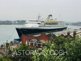 The first cruiseship of the Cork Harbour cruise season Astoria which AFLOAT adds is operated by Cruise & Maritime Voyages had berthed in Cobh. The veteran vessel dating to 1948 is one of the oldest operational cruiseships.