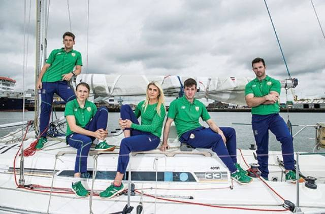 Team For Rio(L-R) Matt McGovern (49er), Annalise Murphy (Laser Radial), Saskia Tidey (49erFX), Finn Lynch (Laser Standard) and Ryan Seaton (49er)