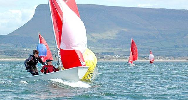 Mirror dinghy racing on Sligo Bay under Ben Bulben