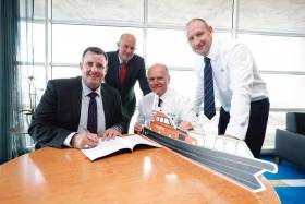 Signing on the dotted line for Dublin Port's new Pilot Boat were: Michael McKenna, Harbour Master, Dublin Port Company, Eamonn O'Reilly, Chief Executive, Dublin Port Company, Alan Goodchild, MD, Goodchild Marine, Steve Pierce, General Manager, Goodchild Marine.
