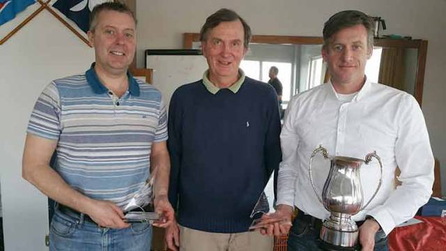 Noel Butler & Stephen Oram ( (left)) – DMYC Frostbite 2016/17 Overall winners with DMYC Commodore Barry Kenny (centre)