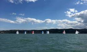 Cloudy skies and a modest six-knot sea breeze greeted crews at the start of the first 420 race at HYC