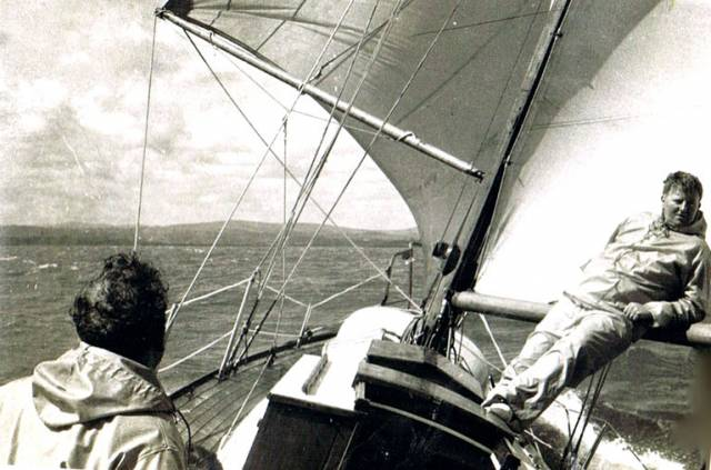 At home in boats and sailing. The late Cas Smullen (right) in relaxed mode on main-boom control duties aboard a Dublin Bay 24 sailing fast offshore