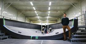 Marcello Persico in the Persico Marine Boatyard in Bergamo as the new VOR 65 hull is crafted