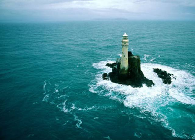 The lone sentinel. The Fastnet Rock in average Atlantic conditions. Monday's record there of winds of 191 km/h will have created sea turmoil beyond imagination