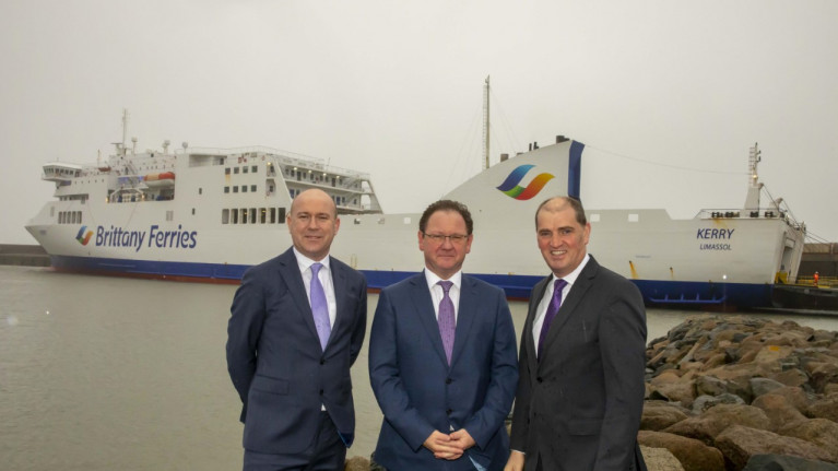 Brittany Ferries Group Freight Director, Simon Wagstaff; Glenn Carr, General Manager, Rosslare Europort; and Minister Paul Kehoe TD pictured this morning at the Co. Wexford ferryport. AFLOAT adds the ropax ferry Kerry berthed at the harbour's outer pier prior to departing today on the new Ireland-Spain route's ship's maiden sailing bound for Bilbao, northern Spain.