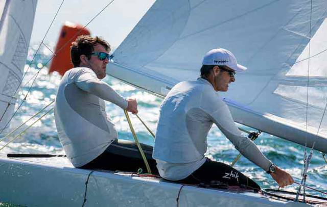 Rob O'Leary at the helm, and brother Peter with crewing and tactics, on their way to Bronze Medals in the Star Junior Worlds.