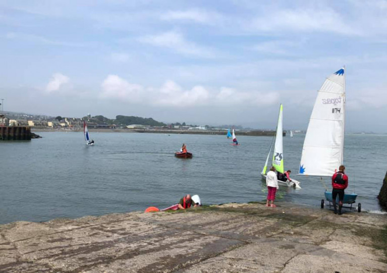 Dinghies on the water at Wicklow Sailing Club this past Saturday