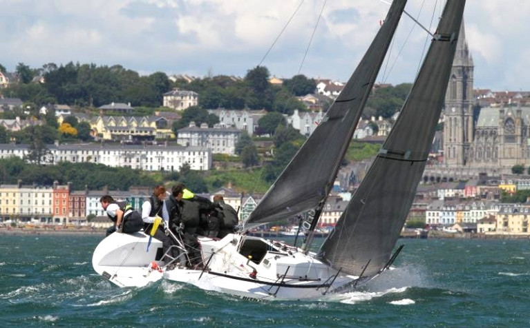 Cork Week racing against the backdrop of Cobh in Cork Harbour