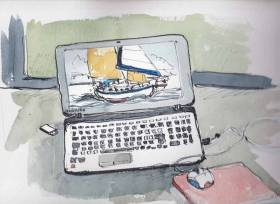 Artist Pete Hogan says he seems to have become a virtual sailor, thanks to the internet