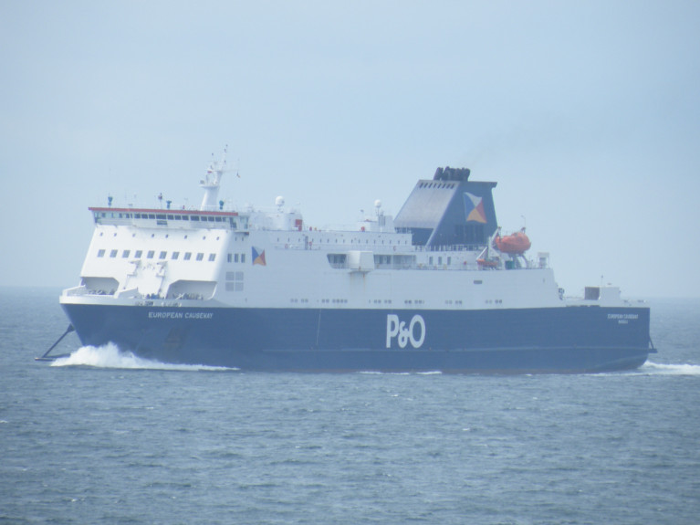 British Ports Association called the promised resources to cover infrastructure, systems and staffing 'helpful measures designed to ease the new borders requirements which come into force next year'. ABOVE AFLOAT's photo of a Larne-Cairnryan serving ferry, European Causeway of P&O Ferries which also has just two of an original five-strong fleet operating Dover-Calais albeit in a freight-only mode due to the fallout of Covid-19. The UK government has however provided a further funding of £37m (in April it was £17m) to the ferry firm and others to ensure a secure and stable supply of goods to and from the UK and the EU. Afloat also adds the financial support package includes funding from the N.Ireland Executive on some Irish Sea routes: Cairnryan-Belfast/Larne and Heysham-Warrenpoint.