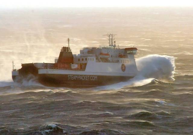 IOM Steam Packets' ropax ferry Ben-my-Chree sailing in rough seas.
