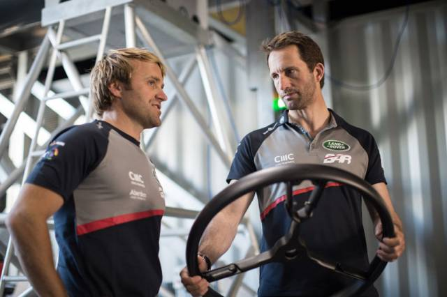 Sir Ben Ainslie (right) with Land Rover BAR teammate Leigh McMillan