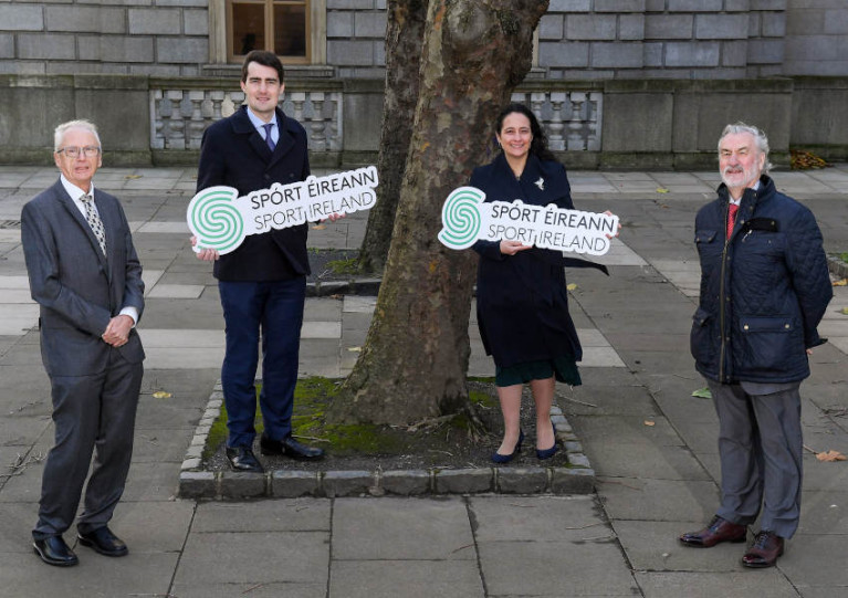 Sport Ireland chief executive John Treacy with Minister of State for Sport, Jack Chambers, Sport Minister Catherine Martin and Sport Ireland chairman Kieran Mulvey at the launch of the €85 million funding package for national governing bodies