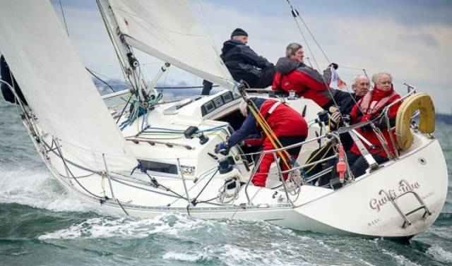 The Sigma 33 Gwilli Two (Dermot Clarke and Paddy Maguire) from the Royal St. George YC was the winner of today's DBSC Combined classes race on Dublin Bay