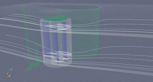 A 3D computer model of GKinetic's hydrokinetic turbine device