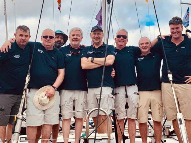 Transatlantic success - Paul Fagan, Paul Barrington, Brian Uniake, David O'Reilly, Alan Daly, Barry O'Sullivan, Teddy Murphy (all NYC members) and Olly Cotterell (Skipper).