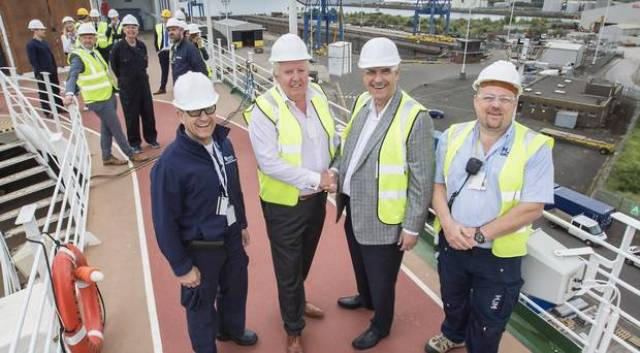 rom left: Captain Toledo, MJM group chairman Brian McConville, Larry Pimentel, head of Azamara Club Cruises and Damien Morgan, MJM