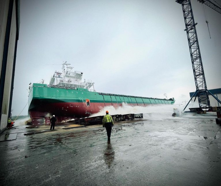An end of April launch for Arklow Artist - the final of the 'A' series of newbuild cargoships