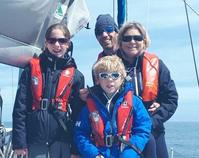 Getting started. The Quinlan-Owens family sport the shades in hopeful anticipation as they depart a largely sunless Ireland in June 2019 on the Atlantic Circuit cruise