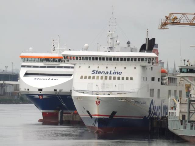 Belfast routes to Scotland and England are served by seven Stena ships, among them above a freight ferry astern of Stena Lagan which operates to Liverpool (Birkenhead) on Merseyside.