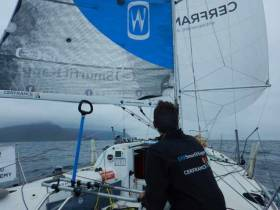 Tom Dolan has moved into the top ten in his Transatlantic Race with co-skipper Tanguy Bouroullec