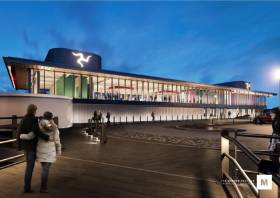 Artists impression of the new Half Tide Dock ferry terminal in Liverpool to be used for Isle of Man services operated by the IOM Steam-Packet