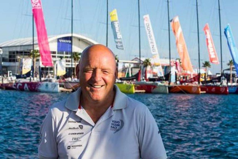 Busy man afloat and ashore. Bill O'Hara, Principal Race Officer, before the start of the round-the-world Volvo Ocean Race