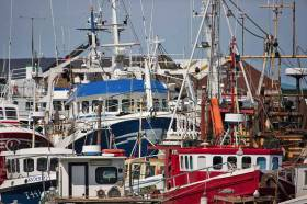 Fishing boats moored at Howth Fishery Harbour Centre