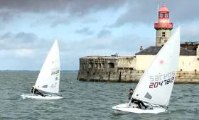 Laser dinghies compete in Royal St. George's Final Fling event inside Dun Laoghaire Harbour