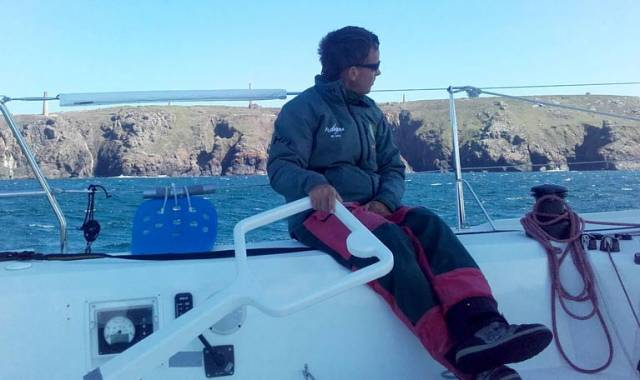 Conor Fogerty at the helm of his Sunfast 3600 which he will sail Round Britain and Ireland in August with Simon Knowles